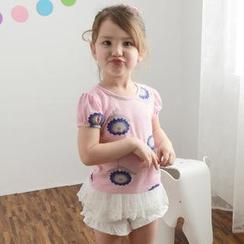 Lemony dudu - Kids Short-Sleeve Floral Print Mesh T-Shirt