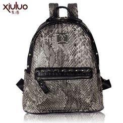 Super Duper - Snakeskin Studded Backpack