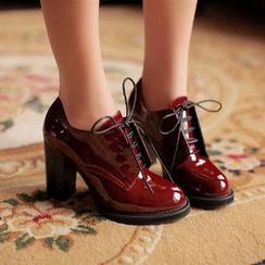 幸福鞋坊 - 漆皮粗跟牛津鞋