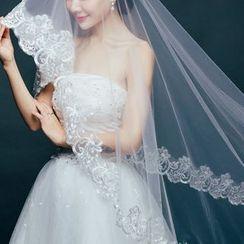 Sky n Sea - Long Lace Panel Wedding Veil