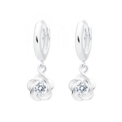 BELEC - 925 Sterling Silver Flower Earrings with White Cubic Zircon