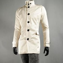 Free Shop - Stand-Collar Buttoned Trench Coat