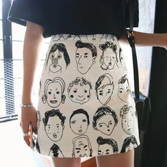 YOSH - Cartoon Print A-Line Mini Skirt