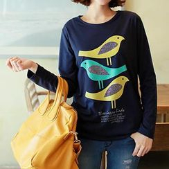 CLICK - Bird Print Embellished Long-Sleeve T-Shirt