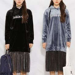Heynew - Hooded Long-Sleeve Pleated Panel Dress