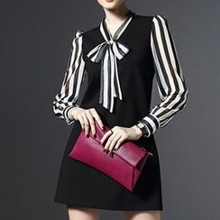 Lovebirds - Long-Sleeve Stripe Panel Bowed Dress