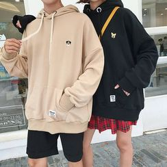 Sartho - Dolman-Sleeve Couple Floral Embroidered Loose-Fit Pocketed Hooded Plain Sport Pullover