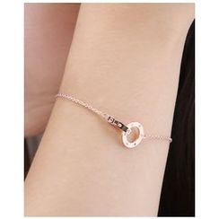 Miss21 Korea - Dual-Hoop Chain Bracelet
