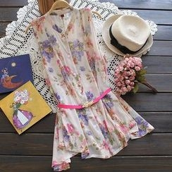 Flower Idea - Sleeveless Floral Chiffon Shirt