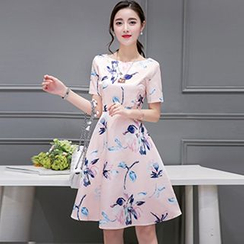 Lavogo - Floral Print Short-Sleeve A-Line Dress