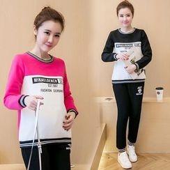 Soswift - 孕妇套装: 字母套衫 + 运动裤