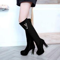 Pastel Pairs - Chunky Heel Platform Tall Boots