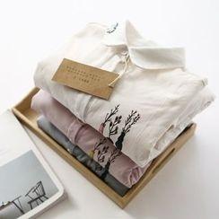 布丁坊 - 内抓毛印花衬衫