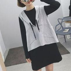 Cloud Nine - Set : Long T-shirt + Hooded Vest