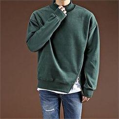 THE COVER - Mock-Neck Zip-Detail Brushed Fleece Top