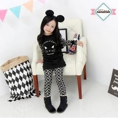 nanakids - Girls Set: Patterned Brushed-Fleece Lined Pullover + Pants