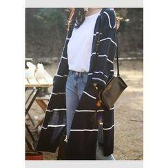 DEEPNY - Slit-Side Striped Long Cardigan