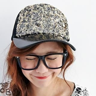 BAIMOMO - Sequined Mesh Cap