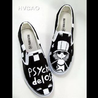 HVBAO - 'Psychedelos' Childhood Story' Canvas Slip-Ons