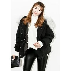 INSTYLEFIT - Faux-Fur Trim Hooded Padded Jacket