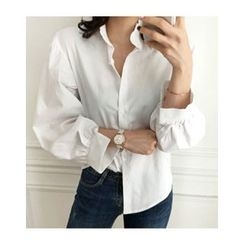 UPTOWNHOLIC - Frilled-Trim Puff-Sleeve Blouse