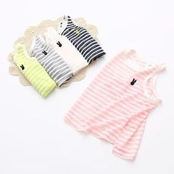 Seashells Kids - Kids Rabbit Embroidered Striped Tank Top