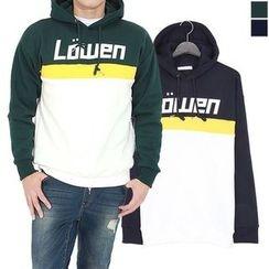 Seoul Homme - Brushed-Fleece Lined Color-Block Hoodie