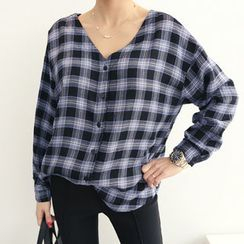 DANI LOVE - V-Neck Checked Shirt