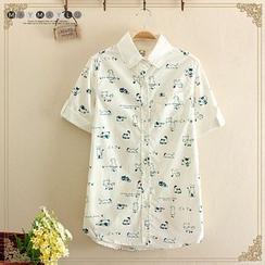 Maymaylu Dreams - Cat Print Short-Sleeve Shirt
