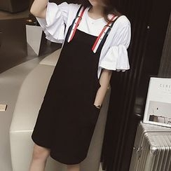 Ashlee - Set: Short-Sleeve Frilled Top + Strapped Jumper Skirt