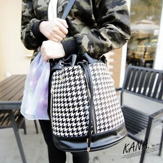 KANA - Faux-Leather Houndstooth Bucket Bag