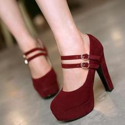 Sidewalk - 踝扣帶粗跟高跟鞋