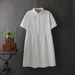 Blue Rose - Embroidered Short-Sleeve Collared Dress