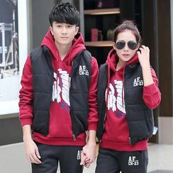 belle epoque - Couple Matching Set: Printed Hoodie + Padded Vest + Drawstring Sweatpants