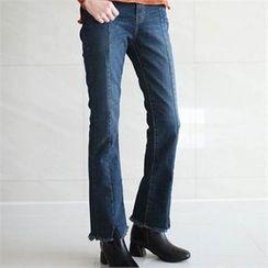 YOOM - Fray-Hem Boot-Cut Jeans