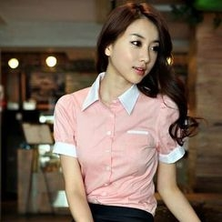 In the Mood - Short-Sleeve Color Block Shirt