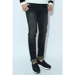 Ohkkage - Washed Brushed-Fleece Lined Skinny Jeans