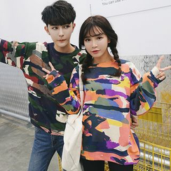 Bonne Nuit - Couple Matching Camo Print Pullover