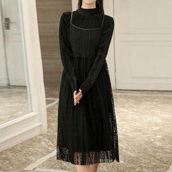 Queen Bee - 套装: 高领植毛绒连衣裙 + 带连衣裙