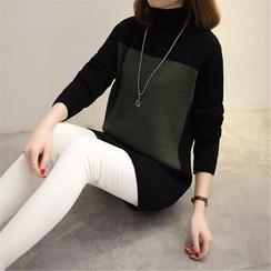 Gemuni - High Neck Color Block Long Sweater
