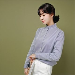 Styleberry - Frill-Neck Stripe Shirt