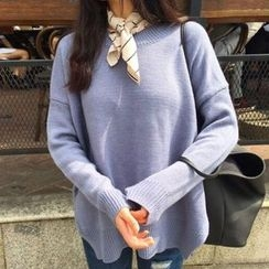 Dute - Side Slit Sweater with Striped Neckerchief