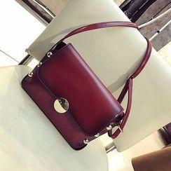Diamante - Studded Faux Leather Shoulder Bag