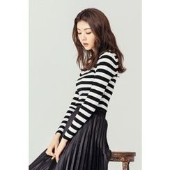 BONGJA SHOP - Stripe Round-Neck Slim-Fit Knit Top