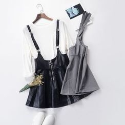 X:Y - Faux Leather Suspender Skirt
