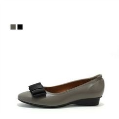 MODELSIS - Genuine Leather Ribbon-Detail Flats