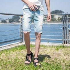 Bay Go Mall - Washed Ripped Denim Shorts