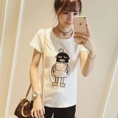Colorful Shop - Short-Sleeve Applique Sequined T-Shirt