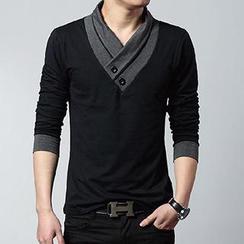 Mystory - Long-Sleeve Wrap Collar T-Shirt