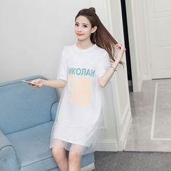Arroba - Set : Letter Short-Sleeve T-shirt Dress + Mesh Short-Sleeve Dress